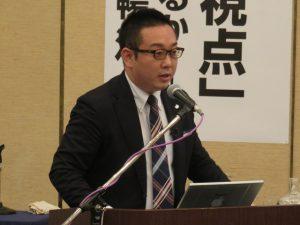 講演する山形大学学術研究院松坂暢浩准教授
